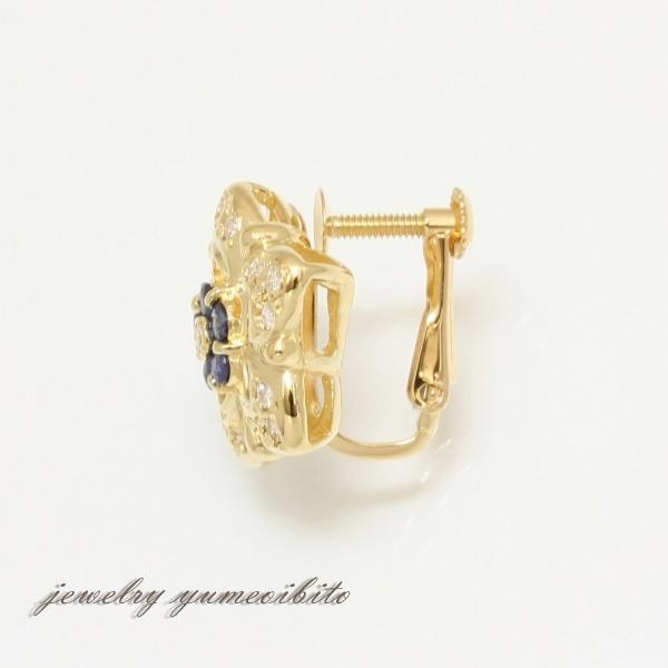 花型デザイン K18 サファイア ダイヤモンド イヤリング