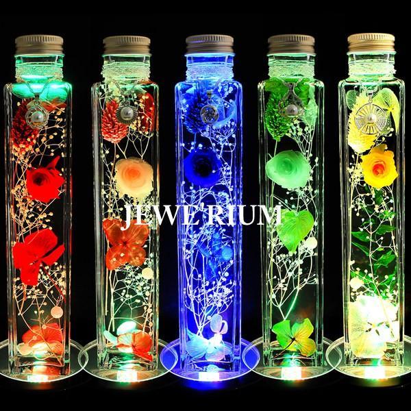 ハーバリウム 誕生日 ギフト セット ジュエリー ハーバリウム 光る プリザーブドフラワー ギフトランキング お中元 プレゼント 女性 花 LEDコースター付き|jewelryaska|05