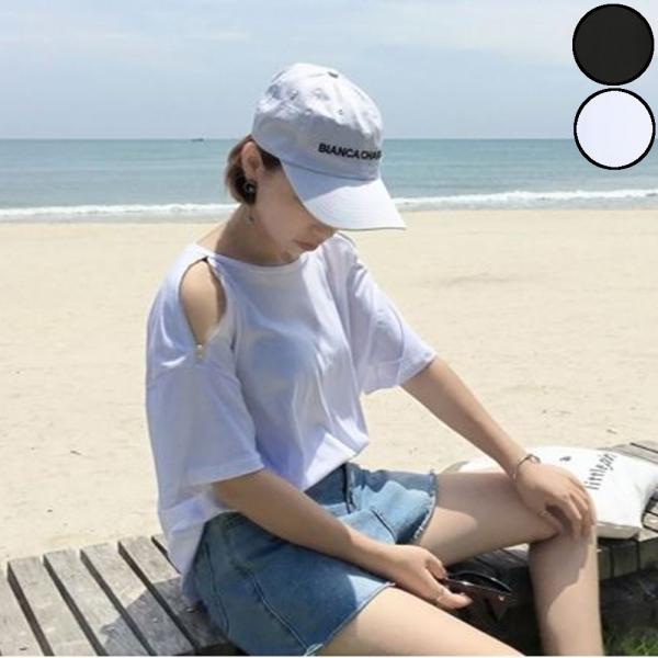【SALE】 Tシャツ カットソー 肩出し 肩出しTシャツ デザインTシャツ レディース ジップアップ デザインカットソー オープンショルダー|jewelryhills
