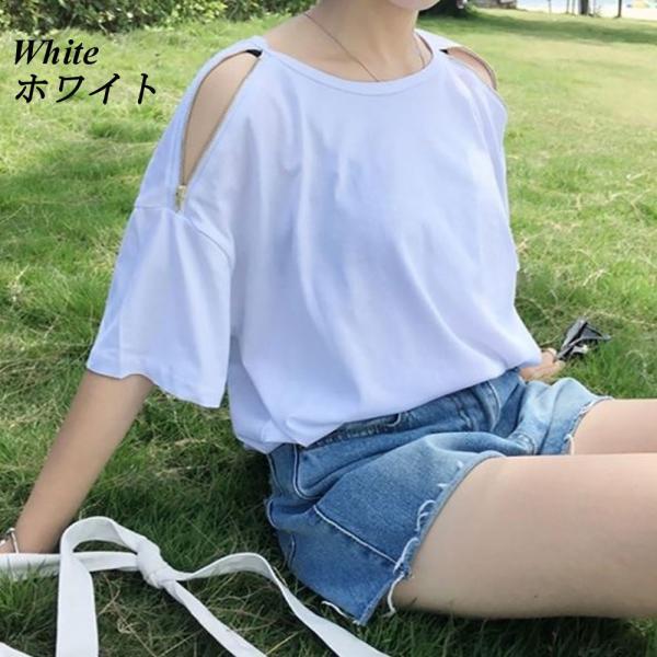 【SALE】 Tシャツ カットソー 肩出し 肩出しTシャツ デザインTシャツ レディース ジップアップ デザインカットソー オープンショルダー|jewelryhills|02