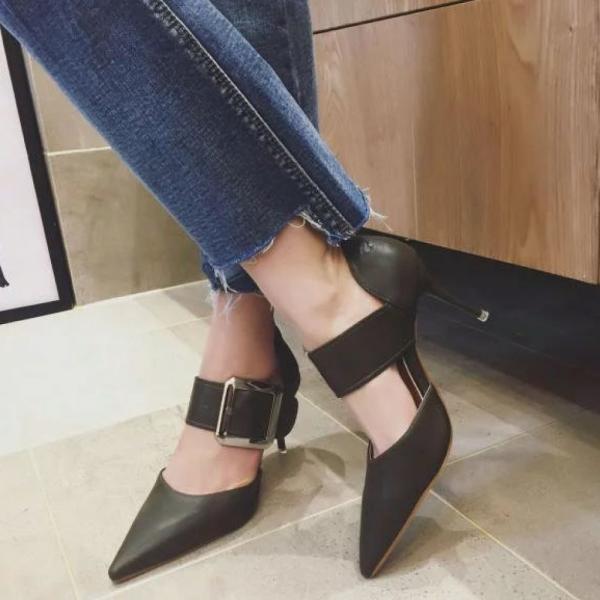 パンプス ヒール ピンヒール シューズ 靴 黒 レディース ポインテッドトゥ ブラック ポインテッド ベルト ベーシック シンプル jewelryhills 05