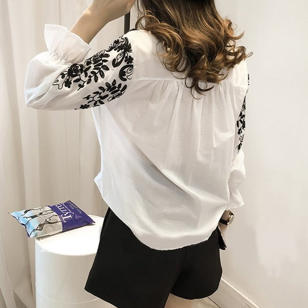 ブラウス 刺繍 刺繍ブラウス シャツ レディース 長袖 シャツブラウス ダンガリーシャツ 長袖シャツ シンプル トップス|jewelryhills|05