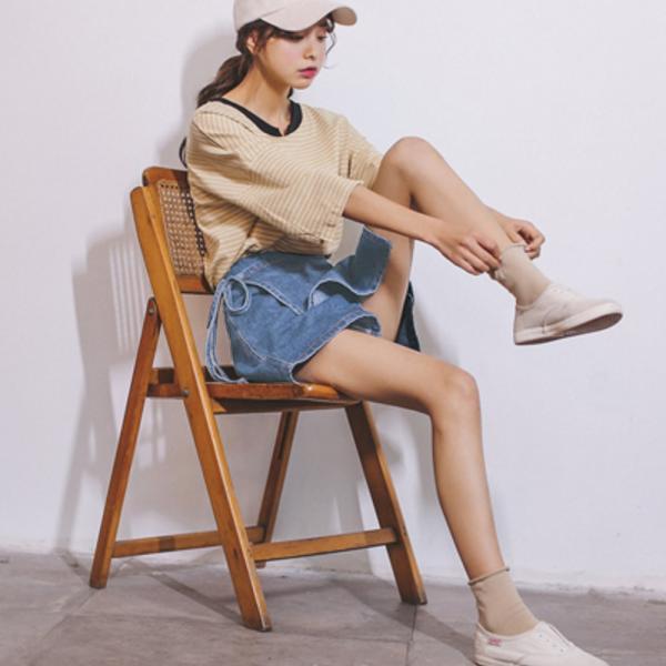 ショートパンツ デニム デニムパンツ レディース ショーパン 巻きスカート風 変形スカート 変形デザイン|jewelryhills|04