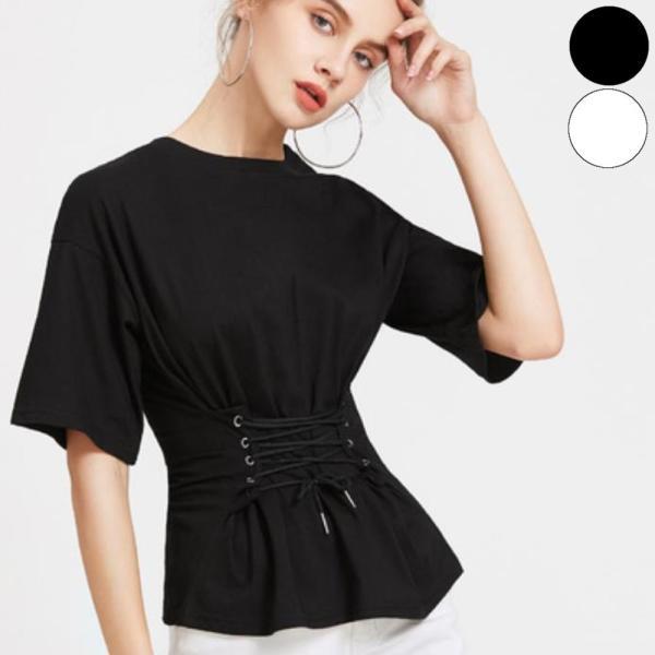 【SALE】 Tシャツ カットソー デザインカットソー デザインTシャツ レディース レースアップ 編み上げ ブラック 黒|jewelryhills