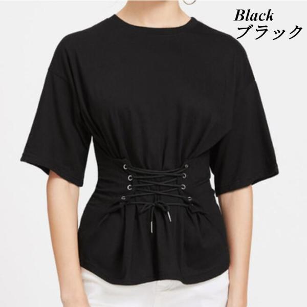 【SALE】 Tシャツ カットソー デザインカットソー デザインTシャツ レディース レースアップ 編み上げ ブラック 黒|jewelryhills|02