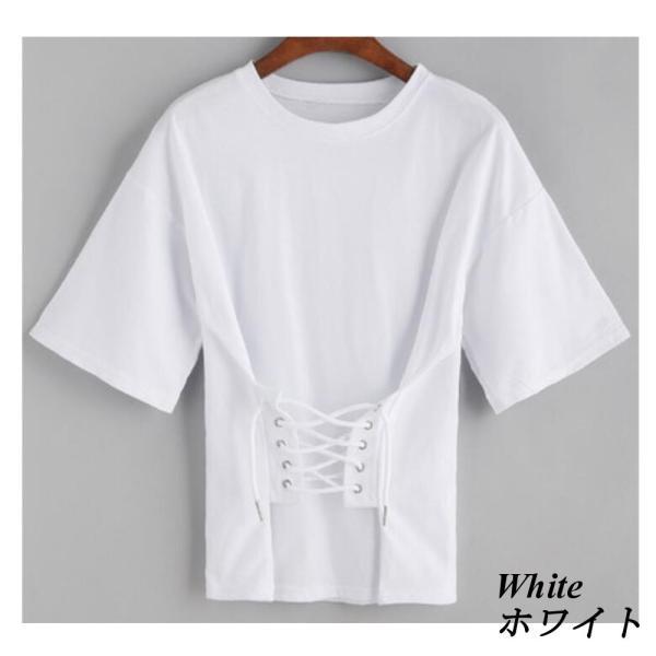 【SALE】 Tシャツ カットソー デザインカットソー デザインTシャツ レディース レースアップ 編み上げ ブラック 黒|jewelryhills|03