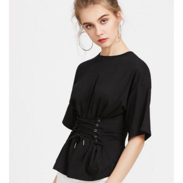 【SALE】 Tシャツ カットソー デザインカットソー デザインTシャツ レディース レースアップ 編み上げ ブラック 黒|jewelryhills|04