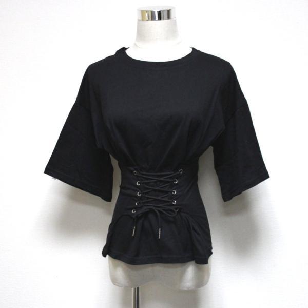 【SALE】 Tシャツ カットソー デザインカットソー デザインTシャツ レディース レースアップ 編み上げ ブラック 黒|jewelryhills|07