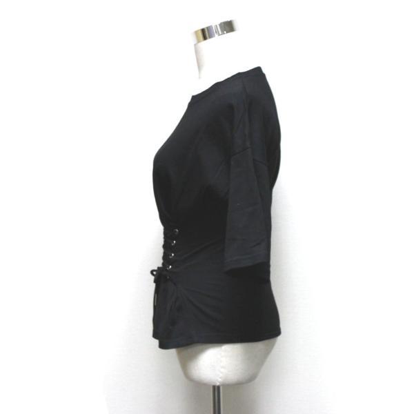 【SALE】 Tシャツ カットソー デザインカットソー デザインTシャツ レディース レースアップ 編み上げ ブラック 黒|jewelryhills|08