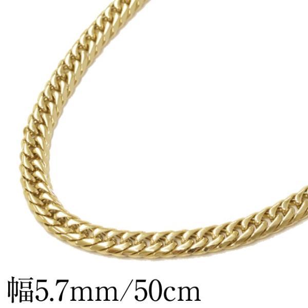 喜平ネックレス メンズ 6面W キヘイチェーン ステンレス 50cm ゴールドカラー 人気  ブランド 中折れ プレゼント