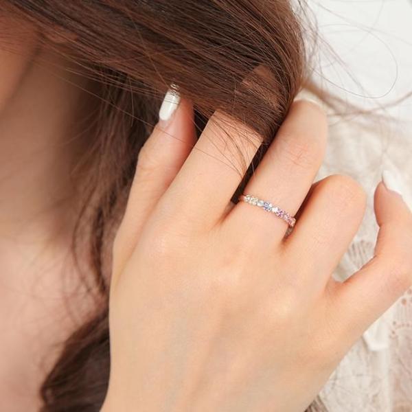 指輪 リング レディース ピンクゴールド ガーネット ルビー サファイア フラワー 花 ホワイトデー