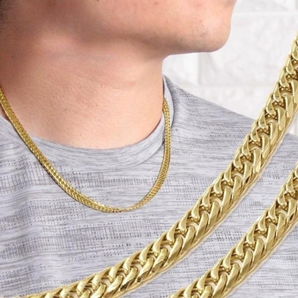 喜平ネックレス メンズ キヘイ ブランド 6面ダブル 六面 ゴールドカラー 幅5.7mm 長さ50cm RoenBLACK ロエンブラック 中折れ ステンレス