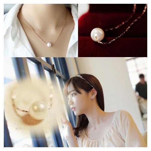 シンプル一粒ホワイトパールネックレスK18RGP jewelrysanmi
