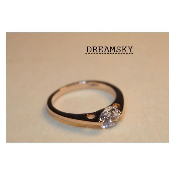 指輪 リング K18 さりげないおしゃれ感が光るデザイン2爪立てダイヤモンドCZ0.8ct リング指輪 K18RGP