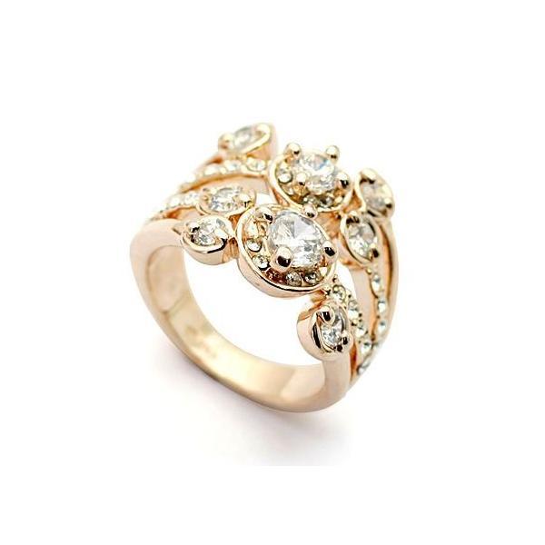 指輪 リング K18 ダイヤモンドCZ彩石満載ファッション リング ピンクゴールドK18RGP|jewelrysanmi