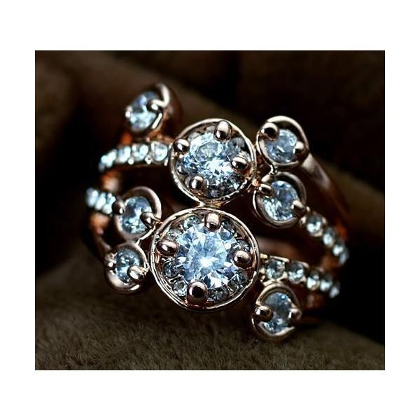 指輪 リング K18 ダイヤモンドCZ彩石満載ファッション リング ピンクゴールドK18RGP|jewelrysanmi|02