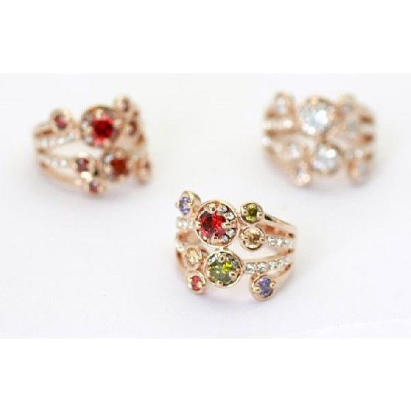 指輪 リング K18 ダイヤモンドCZ彩石満載ファッション リング ピンクゴールドK18RGP|jewelrysanmi|05