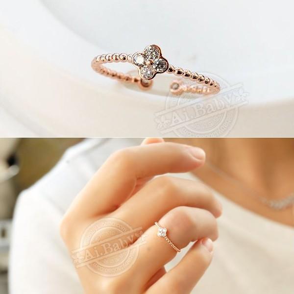 指輪 リング ピンキーリング スワロフスキー SWAROVSKI  四つ葉 クローバー フリーサイズ あすつく 重ね付け jewelrysanmi