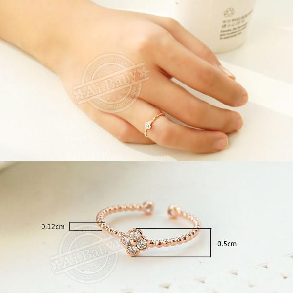 指輪 リング ピンキーリング スワロフスキー SWAROVSKI  四つ葉 クローバー フリーサイズ あすつく 重ね付け jewelrysanmi 02
