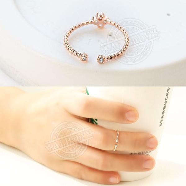 指輪 リング ピンキーリング スワロフスキー SWAROVSKI  四つ葉 クローバー フリーサイズ あすつく 重ね付け jewelrysanmi 03