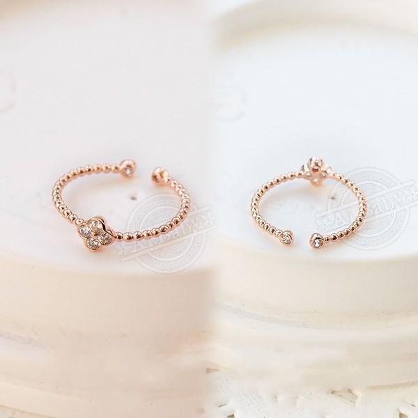 指輪 リング ピンキーリング スワロフスキー SWAROVSKI  四つ葉 クローバー フリーサイズ あすつく 重ね付け jewelrysanmi 04