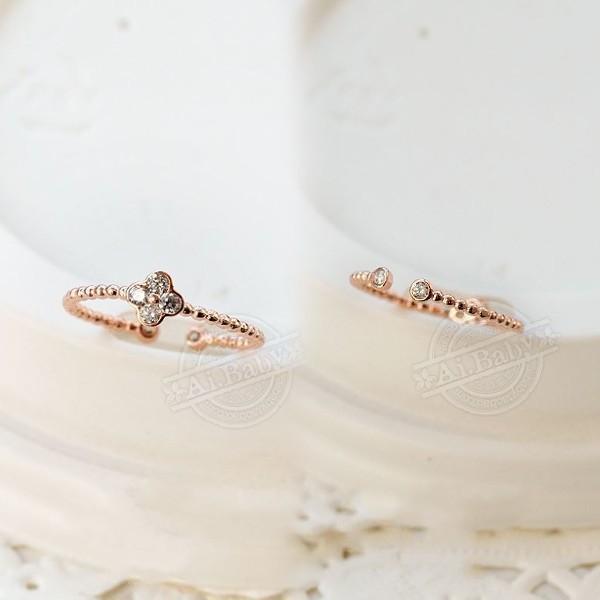 指輪 リング ピンキーリング スワロフスキー SWAROVSKI  四つ葉 クローバー フリーサイズ あすつく 重ね付け jewelrysanmi 05