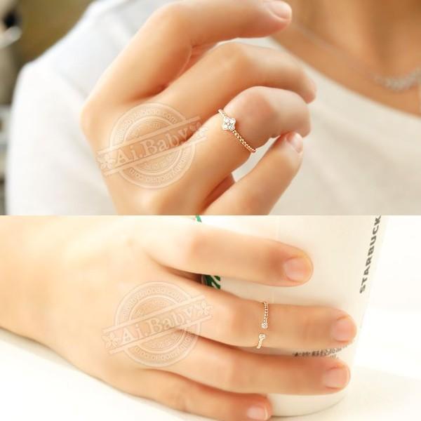 指輪 リング ピンキーリング スワロフスキー SWAROVSKI  四つ葉 クローバー フリーサイズ あすつく 重ね付け jewelrysanmi 06