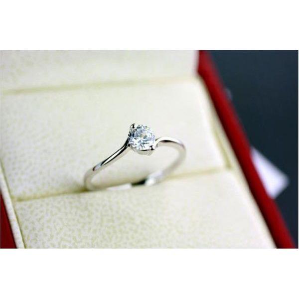 リング 指輪 K18 着こなしのアクセントにぴったり/ダイヤモンドCZ彩石 リング ホワイトゴールドK18RGP指輪
