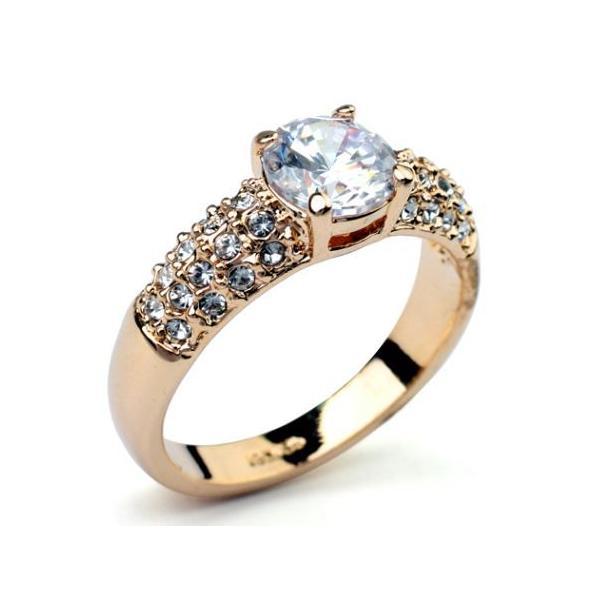 指輪 リング K18 K18豪華10ct 本物の輝きCZ彩石リング ピンクゴールドRGP|jewelrysanmi