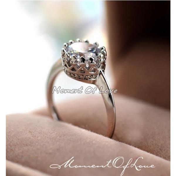 指輪 リング K18 ダイヤモンドCZ彩石/ティアラ/指輪/リング/ホワイトゴールドRGP