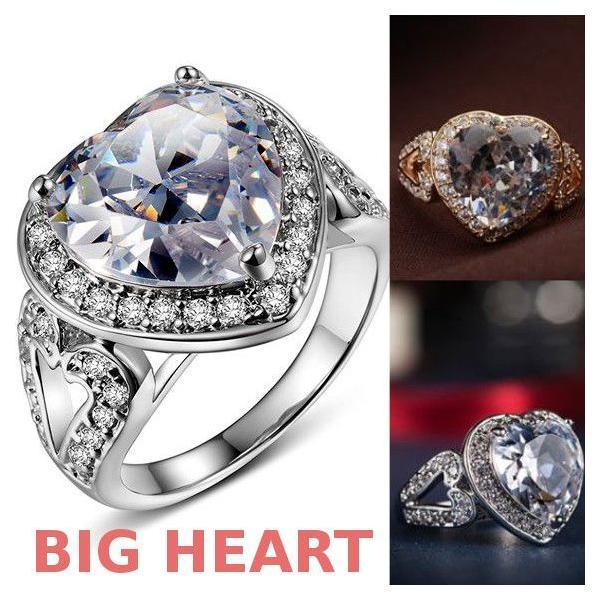 指輪 リング K18 2.7ct豪華ダイヤモンドCZハート彩石リング/18KRGP/2COLOR jewelrysanmi