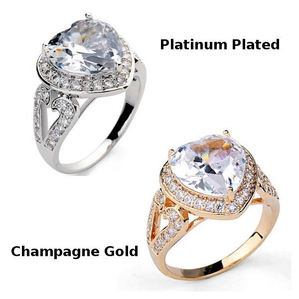 指輪 リング K18 2.7ct豪華ダイヤモンドCZハート彩石リング/18KRGP/2COLOR jewelrysanmi 02