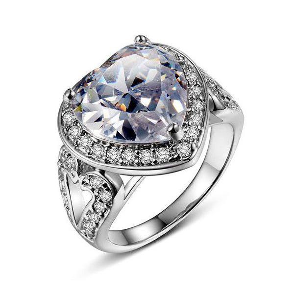 指輪 リング K18 2.7ct豪華ダイヤモンドCZハート彩石リング/18KRGP/2COLOR jewelrysanmi 03