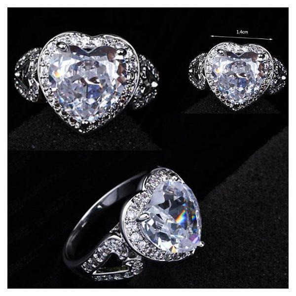 指輪 リング K18 2.7ct豪華ダイヤモンドCZハート彩石リング/18KRGP/2COLOR jewelrysanmi 04