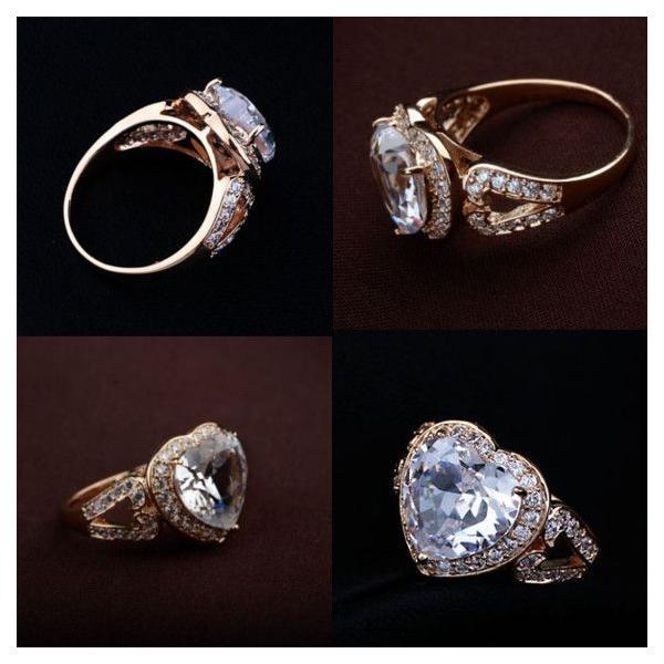 指輪 リング K18 2.7ct豪華ダイヤモンドCZハート彩石リング/18KRGP/2COLOR jewelrysanmi 05