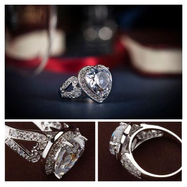 指輪 リング K18 2.7ct豪華ダイヤモンドCZハート彩石リング/18KRGP/2COLOR jewelrysanmi 06