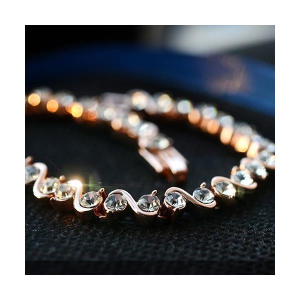 ブレスレット スワロフスキー社製クリスタル K18金RGP プレゼント jewelrysanmi