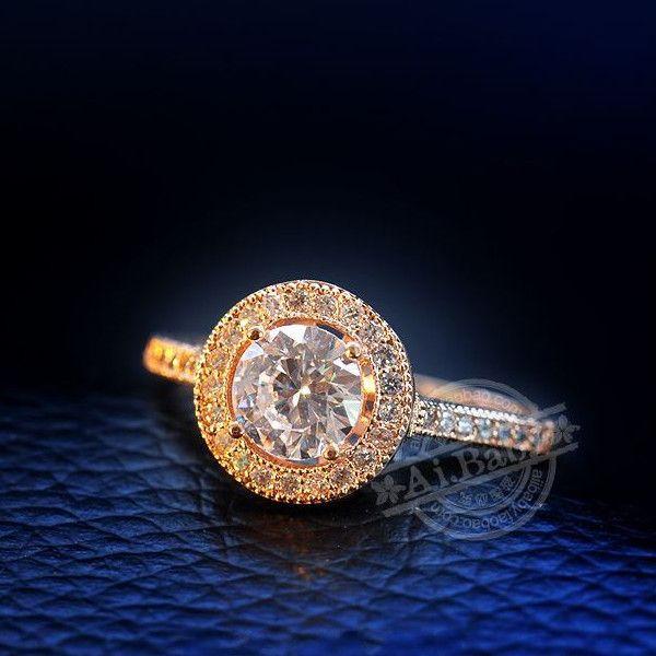 指輪 リング K18 若々しさと気品が漂う/煌き1.1ctダイヤモンドCZジュエリー彩石リング/K18RGP指輪