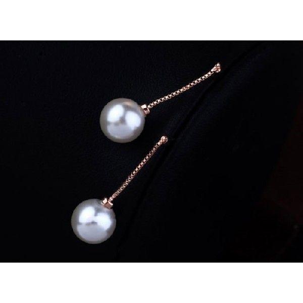 ピアス ホワイトパール一粒真珠チェーンピアス ピンクゴールドK18RGP|jewelrysanmi|02
