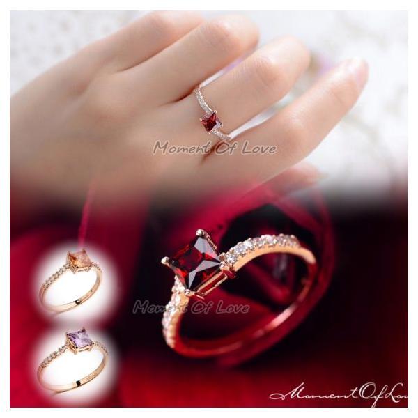 指輪 リング K18 煌きダイヤモンドCZレッド彩石 リング ピンクゴールド3色展開|jewelrysanmi