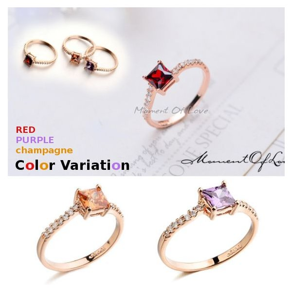 指輪 リング K18 煌きダイヤモンドCZレッド彩石 リング ピンクゴールド3色展開|jewelrysanmi|02