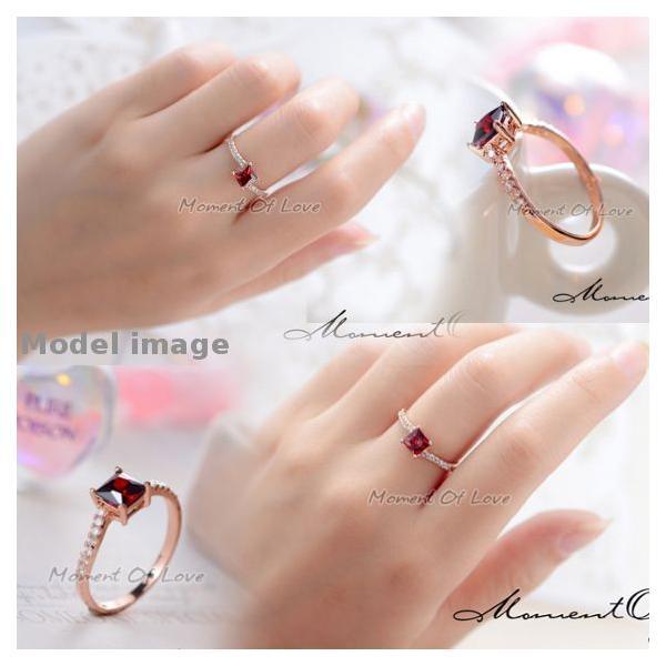 指輪 リング K18 煌きダイヤモンドCZレッド彩石 リング ピンクゴールド3色展開|jewelrysanmi|03