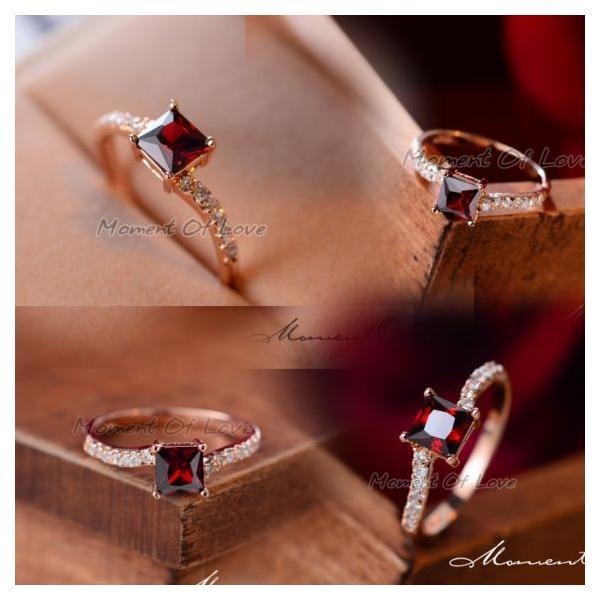指輪 リング K18 煌きダイヤモンドCZレッド彩石 リング ピンクゴールド3色展開|jewelrysanmi|04