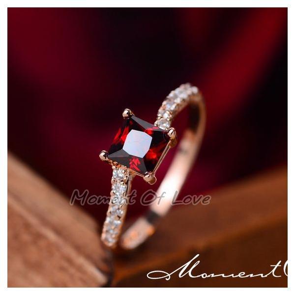指輪 リング K18 煌きダイヤモンドCZレッド彩石 リング ピンクゴールド3色展開|jewelrysanmi|05