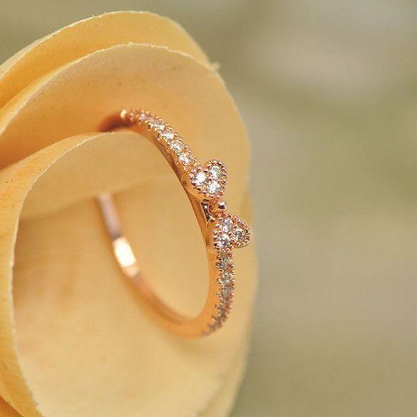指輪 リング K18 大人の指先に遊び心と優美さをアピールしてくれる/リボンリング/ハーフエタニティリング/ピンキー/指輪|jewelrysanmi|02