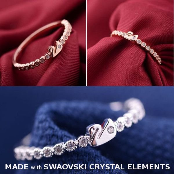 指輪 リング K18 愛される白鳥デザインをキュートにアレンジ/繊細なSWAROVSKI ハーフエタニティリング/K18RGP指輪|jewelrysanmi