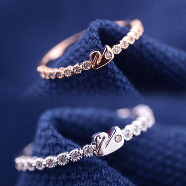 指輪 リング K18 愛される白鳥デザインをキュートにアレンジ/繊細なSWAROVSKI ハーフエタニティリング/K18RGP指輪|jewelrysanmi|03