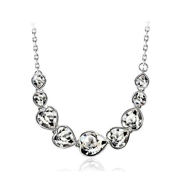 K18 スワロフスキー繋がりハート彩石ネックレスホワイトゴールドRGP|jewelrysanmi