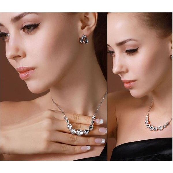 K18 スワロフスキー繋がりハート彩石ネックレスホワイトゴールドRGP|jewelrysanmi|02