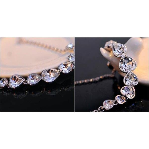 K18 スワロフスキー繋がりハート彩石ネックレスホワイトゴールドRGP|jewelrysanmi|05